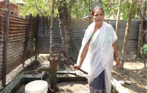 Bijaya collecting water