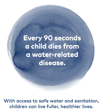 Every 90 seconds a child dies from a water-related disease. With access to safe water and sanitation, children can live fuller, heathier lives.