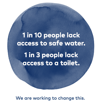 1 in 10 people lack access to safe water. 1 in 3 people lack access to a toilet. We are working to change this.